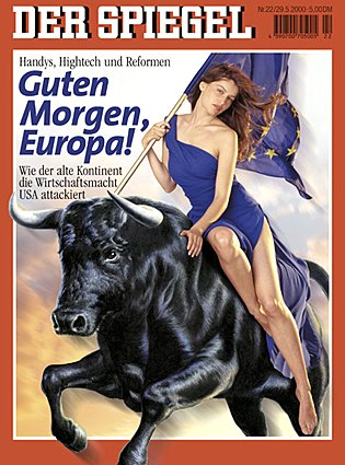 Harlot on Beast - This image is actually the New European Union Symbol - Alomost verbatim as described in Revelation and Daniel